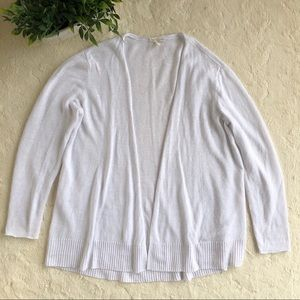 Eileen Fisher white linen open front cardigan